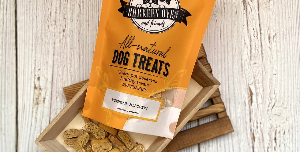 Barkery Oven Wheat Free Pumpkin Biscotti Dog Treats