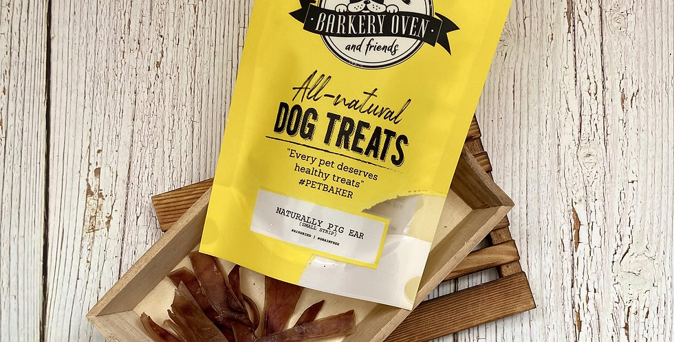 Barkery Oven Naturally Porky Ear Dog Treats, Small Ears
