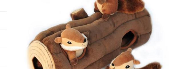 Zippy Burrow Dog Toy - 3 Chipmunks