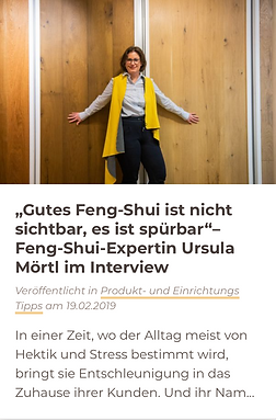 Wohngesund Interview Feng Shui AbsolutTe
