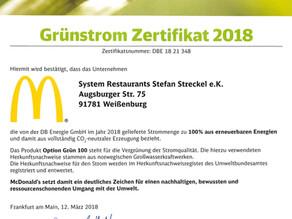 Auch 2018 zu 100% co2-neutraler Strom bei McDonald's Seenland
