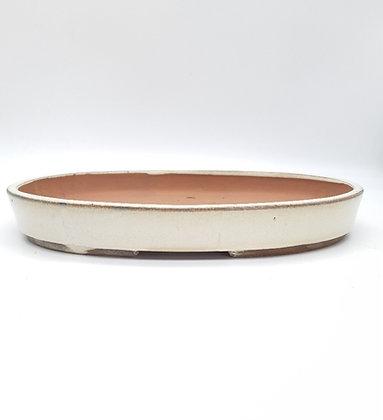Pot ovale émaillé beige pour bonsaï