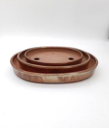 Pot ovale émaillé couleur rouille