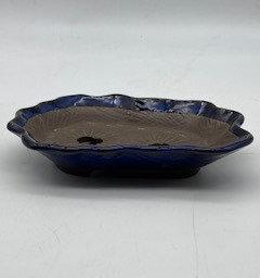 Pot paysage émaillé bleu
