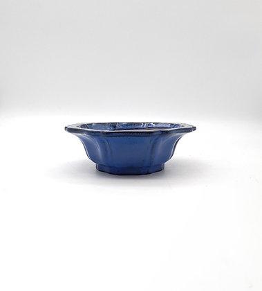 Pot rond / fleur émaillé bleu