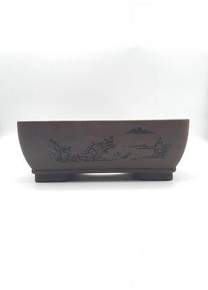 Pot rectangulaire non émaillé avec gravures