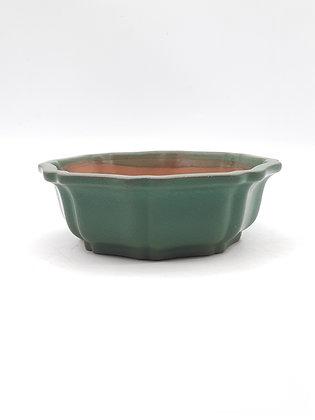 Pot rond / fleur émaillé vert
