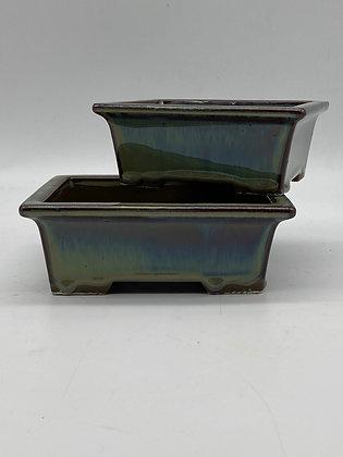 Pot céramique émaillé vert-bleuté