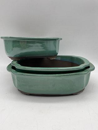 Pot céramique émaillé vert ou bleu