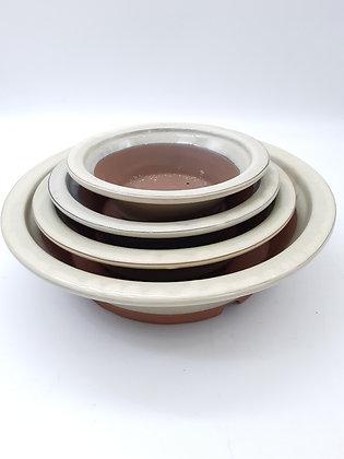 Pot rond émaillé crème