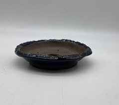 Pot kusamono rond émaillé bleu