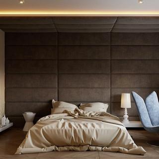 Bedroom suede wall panels