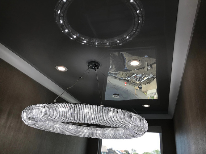Dark gray color glossy ceiling
