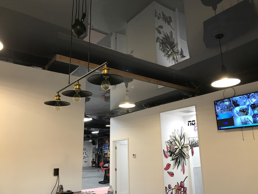 Dark gray color geometry ceiling