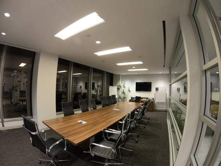 Acoustic ceiling and walls in the meeting room for Saban Films from CeilDex Acoustic
