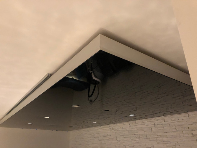 Black color glossy ceiling