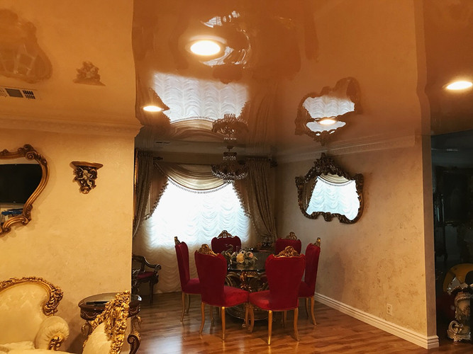 Beige color glossy ceiling