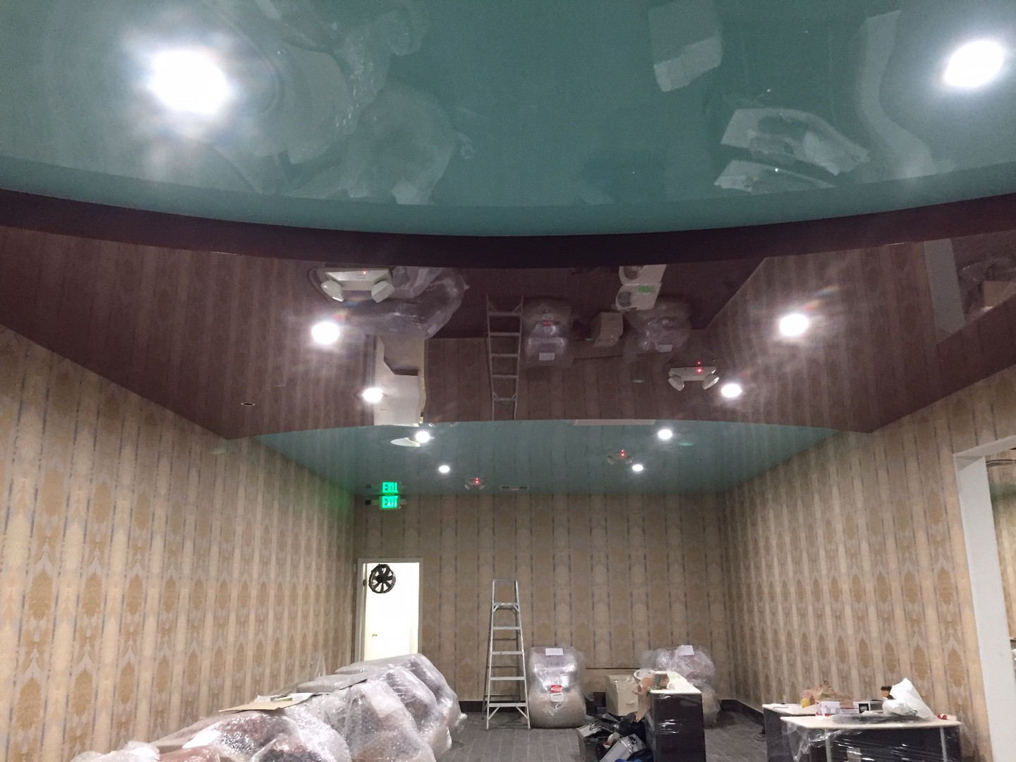 Dark brown & blue color glossy ceiling