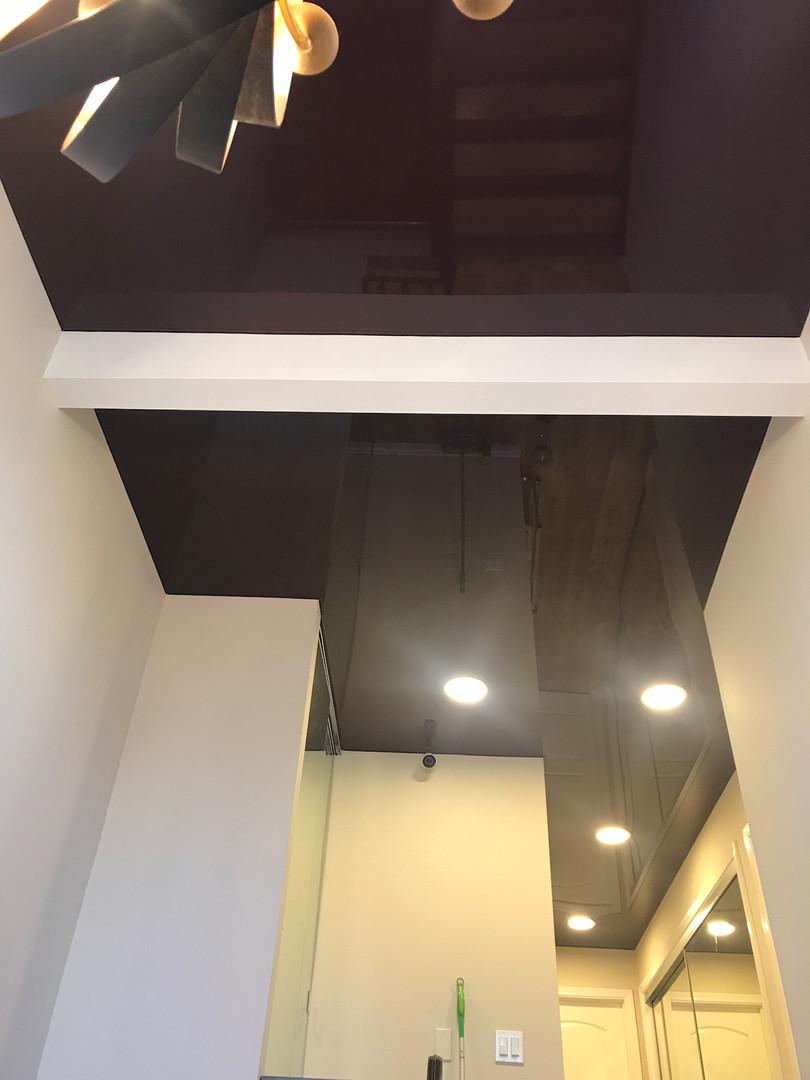 Dark brown color glossy ceiling