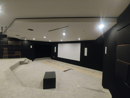 Big project in the bid house.  Home theatre sound proof system installation performed by CeilDex
