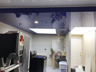 Navy & White color glossy ceiling