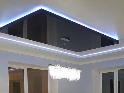 Black color geometry ceiling