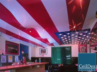 USA flag imitation wave ceiling