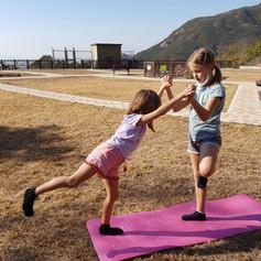 Hiking Yoga helping partner