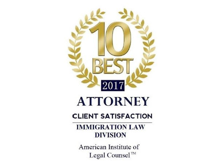 Nominated and Accepted as 2017 AIOLC's 10 Best Immigration Attorneys in New York