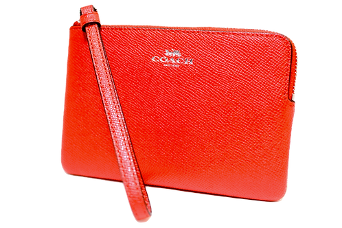 COACH Crossgrain Leather Wristlet with Corner Zip - Red