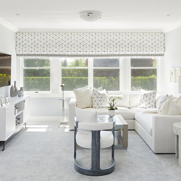 White Roman Shades and Upholstery
