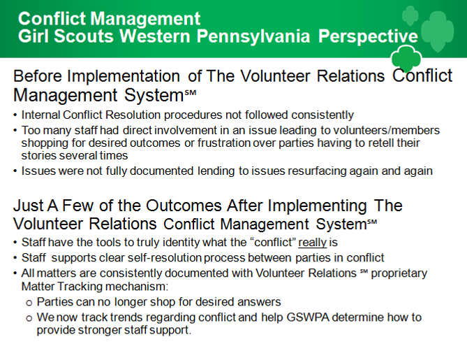 Manage scout volunteer conflict heres what client girl scouts western pennsylvania has to say about their results publicscrutiny Image collections