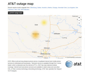 AT&T Cell Service out in Hennessey Cell Service Outage Map on cell tower map, cell phone service area map, at&t wireless map, coverage map, at&t cell site map,