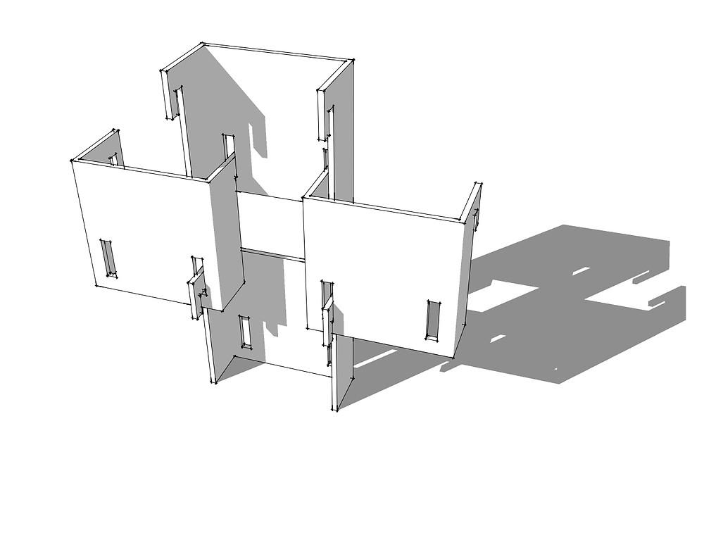 Étude de façade : éléments assemblés verre et terre cuite vernissée