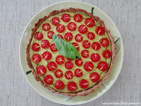 Vegane Basilikum-Tomaten Quiche
