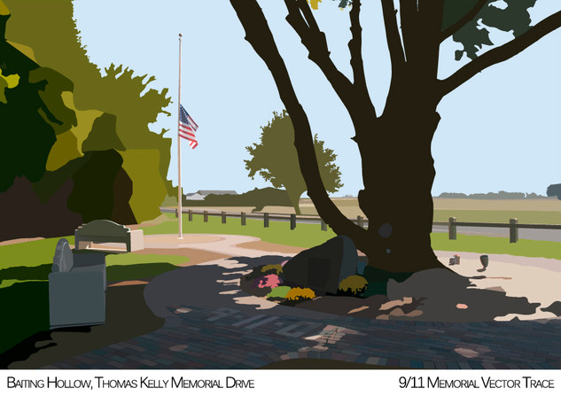 A study to practice image tracing with Illustrator. This image was taken at a local memorial on Long Island and was hand traced using the pen tool. The focus was on shadows and light to give depth of field in an otherwise flat image.  Illustrator Study 2013 Adobe Illustrator
