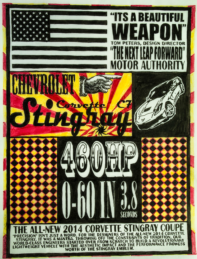 This piece was organized and designed in InDesign then hand traced with art markers to give it an authentic feel. The main focus was on typography, highlight colors and visual heriarchy.  Motor Authority 2014 InDesign/hand drawn