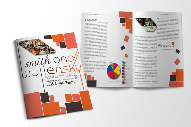 2015 Annual Report designed for Smith and Wollensky using Adobe InDesign, Illustrator and Photoshop. The focus on thise piece was abstract use of basic shapes to fill negative space and creative use of borders and type.  Smith and Wollensky 2015 Adobe Creative Suite