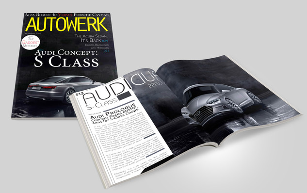Multiple pages design for Autowerk Magazine covering the Audio S Class Concept announcment. A front cover and four page spread was created in Adobe InDesign, Illustrator and Photoshop.  Autowerk 2014 Adobe Creative Suite