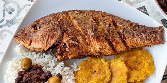 Half Fried Brown Stew Fish and Rice