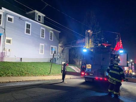 Ladder Runs Solvay Apartment Fire