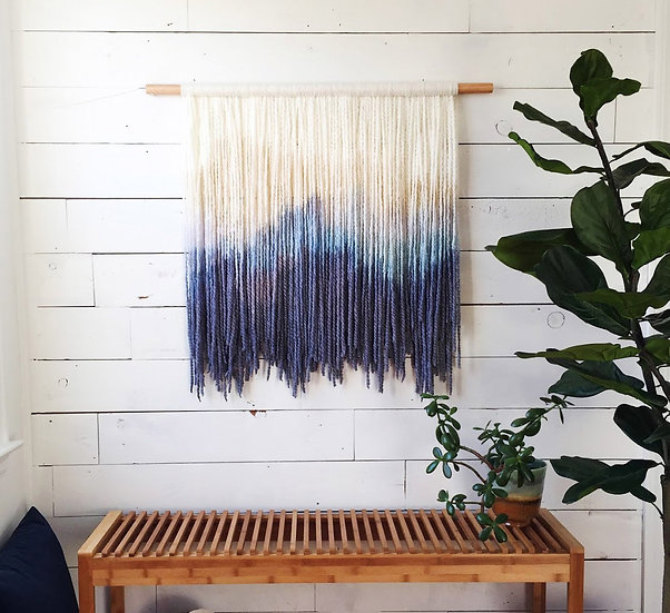 Tan, Blue, and Purple Dip Dye Tapestry