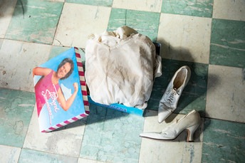 The Richard Simmons box Zita's wedding dress, shoes & stockings were found in.