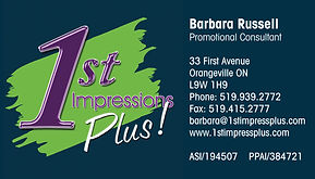 Business card designed for 1st Impressions in Orangeville