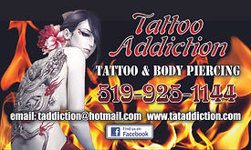 Business card designed for Tattoo Addiction in Shelburne