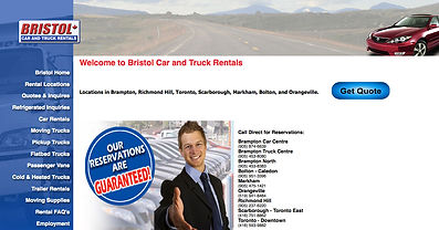 Bristol Car and Truck Rentals website | Designed and developed by Impact Kreative in Orangeville