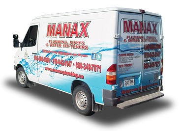 Truck wrap designed for Manax plumbing in Orangeville