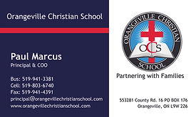 Business card designed for Orangeville Christian School in Orangeville