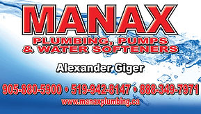 Business card designed for Manax Plumbing in Orangeville