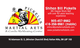 Business card designed for Shihan Bill Pickells in Brampton